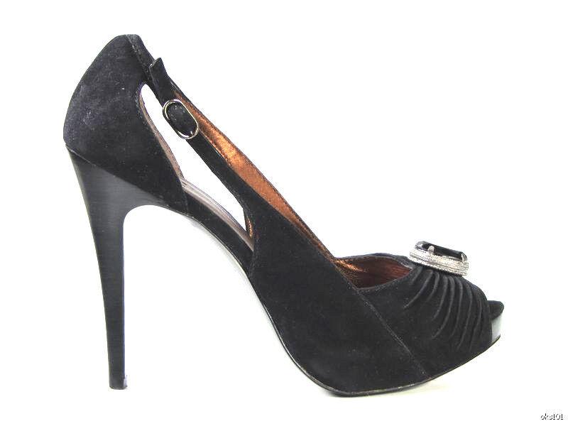 NEU PELLE schwarz suede jeweled PLATFORMS heels schuhe 10 - sexy
