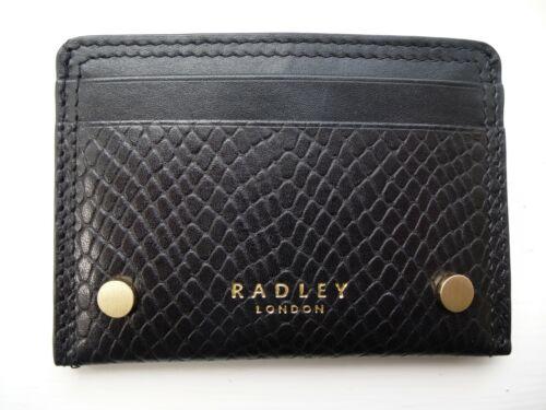 RADLEY UK Black Leather CARD HOLDER Pocket New Metal Studs JUST 10 x 7cm