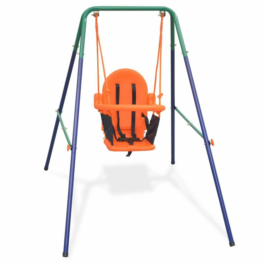 VidaXL Toddler Swing Set with Safety Harness orange Baby Kids Garden Playset