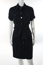 Diane Von Furstenberg Navy Blue Cotton Button Down Shirt Dress Size 6