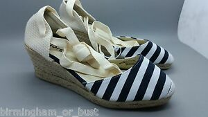4767b252e03 Details about New Womens Black & White Ankle Tie Espadrille Wedges Shoes UK  3 4 5 6 7 8