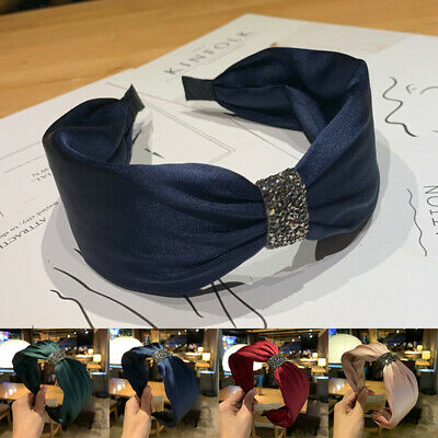 Wide Side Knotted Bezel Rhinestone Headband Hair Hoop Turban Women Hairband NEW
