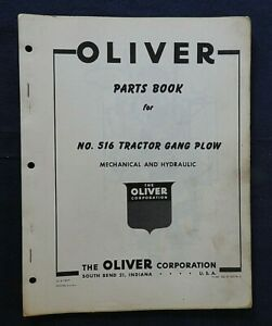 "1950's OLIVER ""No. 516 Series TRACTOR GANG PLOW"" PARTS CATALOG MANUAL"