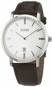 Hugo-Boss-Tradition-Silver-tone-leather-strap-Men-039-s-watch-1513462