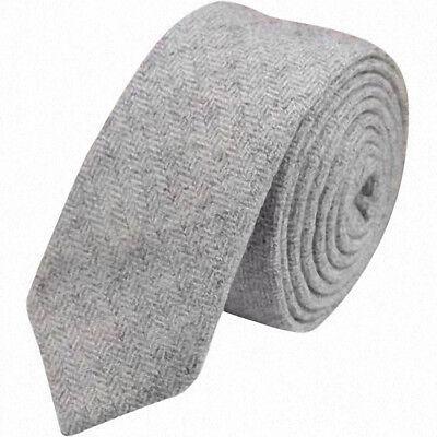 Blue Herringbone British Wool Tweed Neck Tie