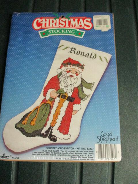 Christmas Delivery Santa Stocking Kit Stamped Crosstitch Good Shepherd 87305