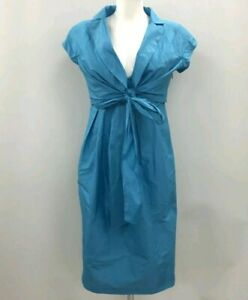Max-Mara-Vintage-Blue-Silk-collared-Tie-Front-Dress-Size-10