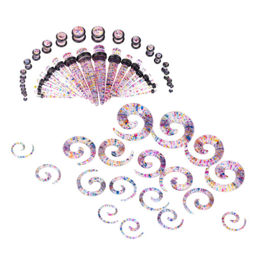18//36//54PC Taper and Plugs Colorful Aurora Spiral Gauges Kit 14G-00G Stretching