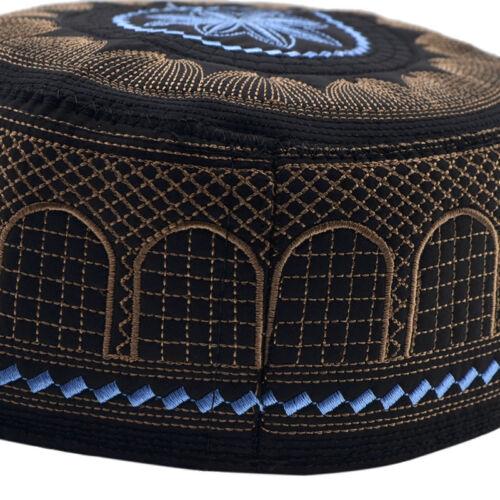 Muslim Mens Prayer Kufi Caps Hat Beanie Embroidered Islamic Topi Black//Blue Gift