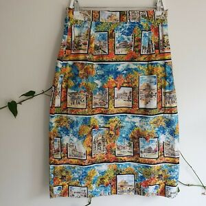 Vtg-50s-Roman-Buildings-Autumn-Leaf-Print-Cotton-Midi-Skirt-M-Handmade-HighWaist
