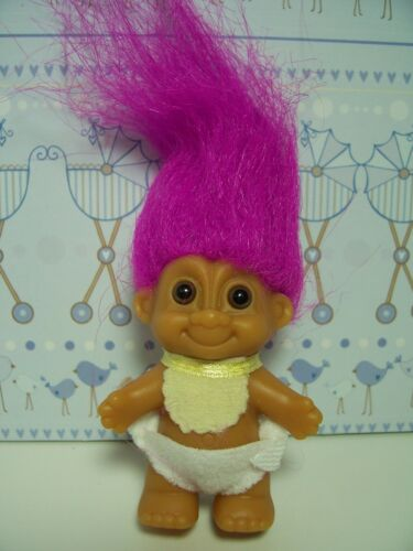 "NEW IN ORIGINAL WRAPPER STANDING BABY WITH BIB 2/"" Russ Troll Doll"
