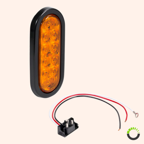 """Details about  /DOT Submersible Amber 6/"""" Oval LED Trailer Tail Light Kit w// Grommet /& Plug"""