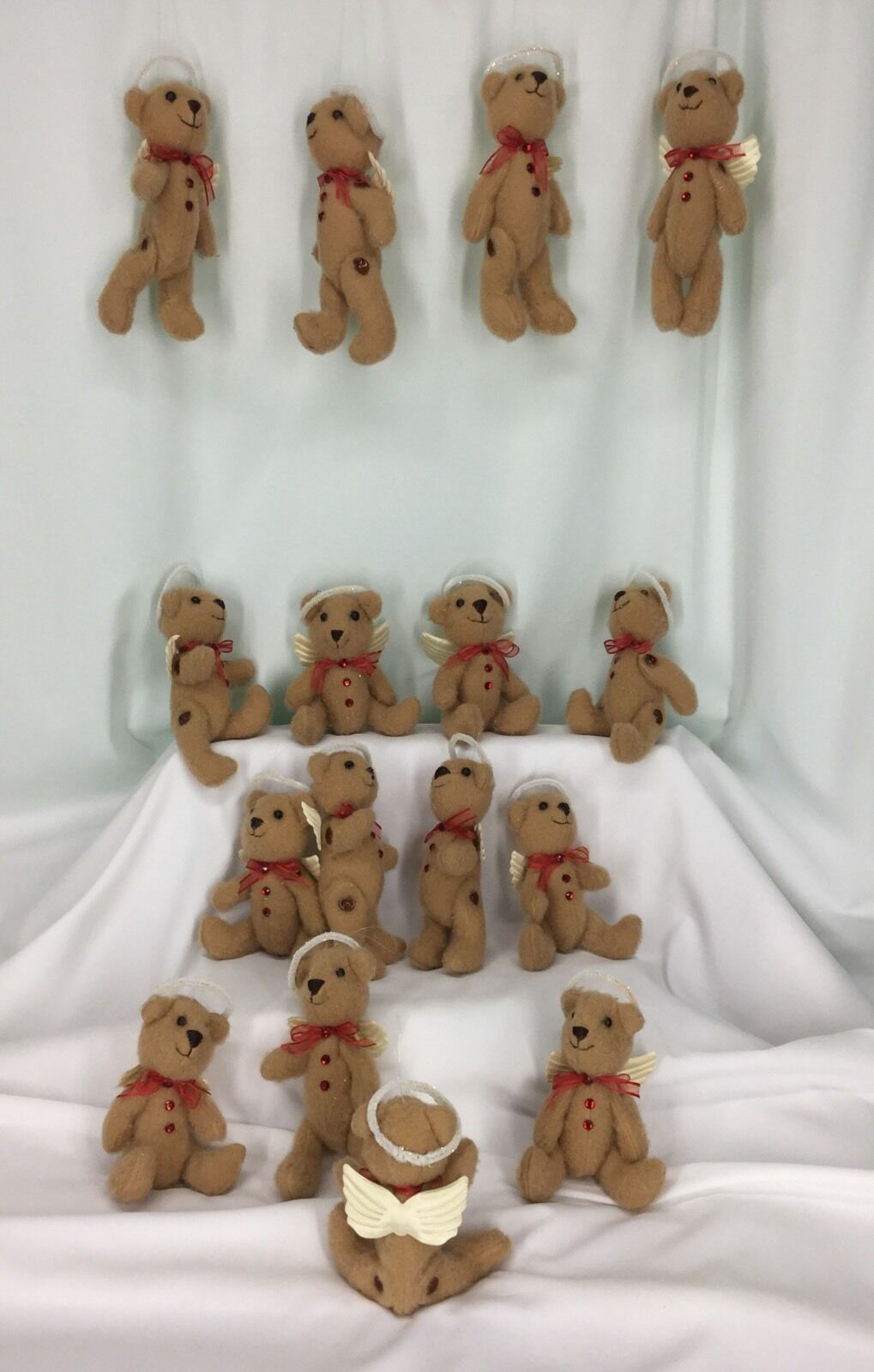 Angel Bears With Halos Set Of 16 Poseable With Buttons rosso Ribbons And Sparkle