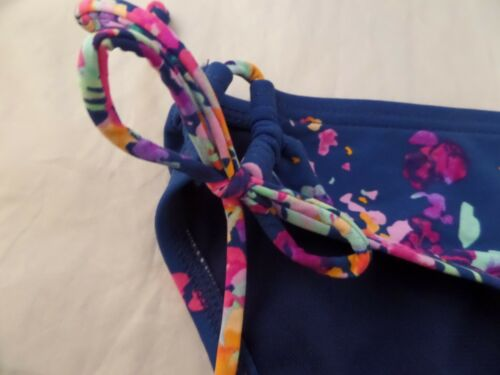 NWT Kenneth Cole Navy Floral Loop Tie Sides Hipster Bikini Bottom Sz L Navy