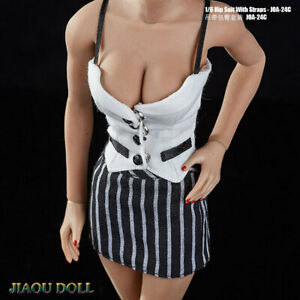1//6 Scale Female Clothes Business Wear Tight T-shirt/&Package Hip Skirt Suits