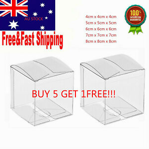 10x Clear Transparent PVC Cube Chocolate Sweets Cup Cake Wedding Favour Gift Box
