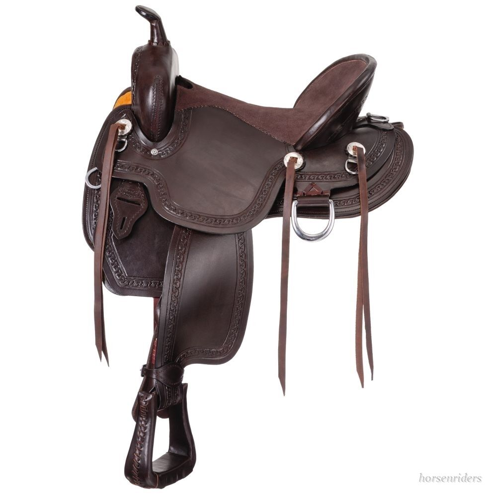 17 Inch Western Mule Saddle - Dark Oil Leather - Mule Bars - 7 Inch Gullet