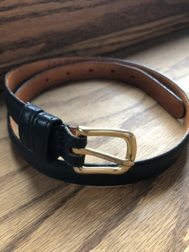 Throwback Retro Skinny Vintage 1980/'s Blue and White Striped Elastic Belt with Leather Ends and a Brass Buckle