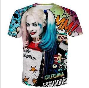 Fashion Mens Womens Harley Quinn Joker Anime Funny 3d Print Casual T