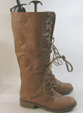 TAN LACE Combat  Riding Winter SEXY Mid-calf boots  size  6.5