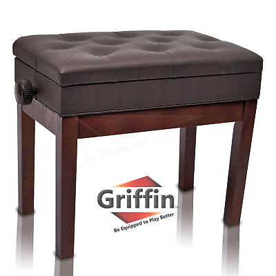 Brown Leather Piano Bench Griffin Storage Adjustable