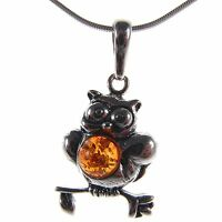 Baltic Amber Sterling Silver 925 Ladies' Owl Bird Pendant Jewellery Jewelry Gift