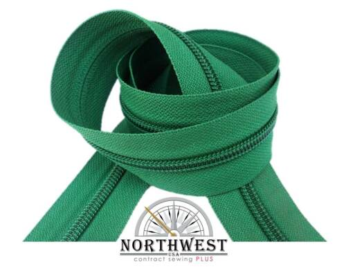 "YKK Nylon Coil Zipper Tape # 8-10 continuous yards /""Emerald/"" made in USA"