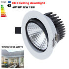 6W 9W 12W 15W Dimmable COB LED Ceiling Recessed Down Light Fixture Lamp + Driver