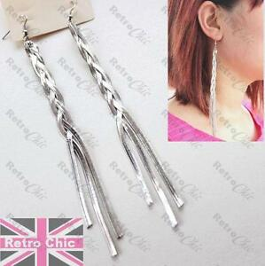 CLIP ON 19cm VERY LONG herringbone twisted chain EARRINGS GOLD//SILVER FASHION