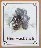 Hunde Hund Email Emaille Schild Warnschild Cocker Spaniel Hier Wache Ich