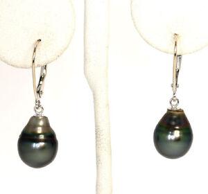 Tahitian-pearl-teardrop-earrings-14K-white-gold-12-MM-X-9-MM-3-4-GM-1-1-8-034-long