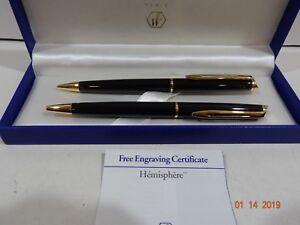 Waterman-Hemisphere-Black-amp-Gold-Ballpoint-Pen-amp-0-5mm-Pencil-Set-New-In-Box