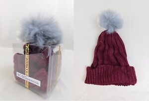 aff827338 Details about BCBGeneration Chunky Knit Pom Pom Winter Beanie Hat in Gift  Box Wine Red #6346