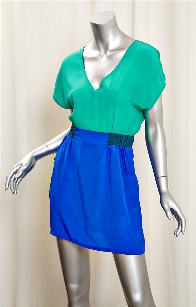 MYNE Aqua Blau Silk 2 Pocket Gatherot Waist Short Sleeve Mini Dress XS 0 NEW