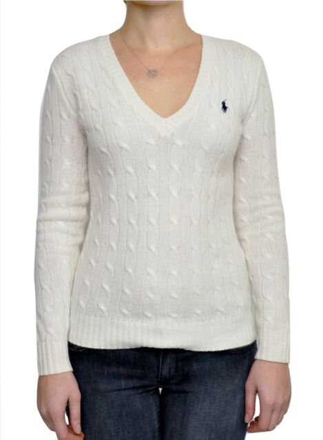 RALPH LAUREN Sport Cable Merino Wool Sweater V-Neck Pony Pullover Cream L  Nwt
