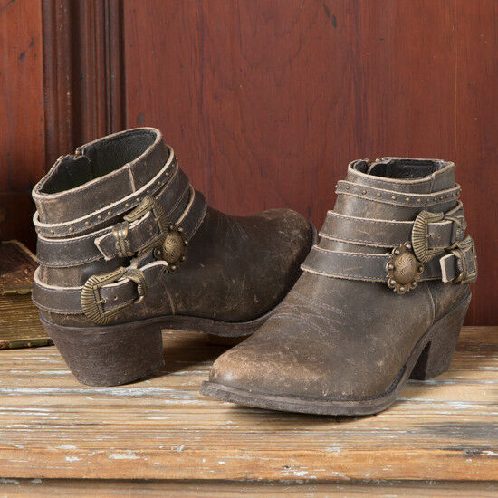 Circle G Distressed Buckle Bootie