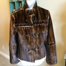 Victoria's Secret Reversible Faux Suede And Fur Jacket Coat Black/Brn Small