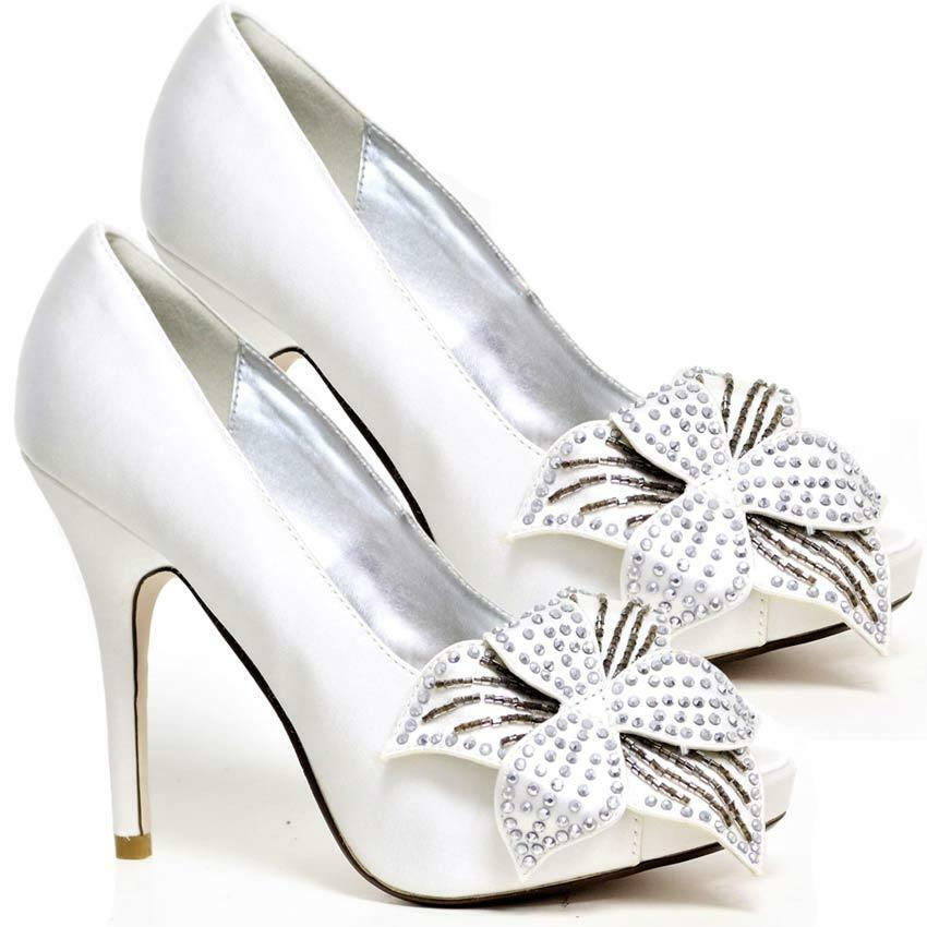 WOMENS WEDDING BRIDAL SHOES LADIES HEELS SATIN BRIDAL WEDDING BRIDESMAID WHITE SHOES SIZE cb5952