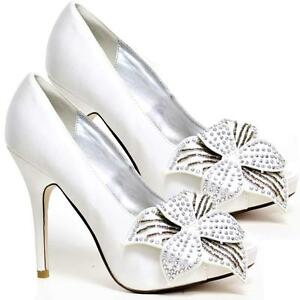 WOMENS-WEDDING-SHOES-LADIES-HEELS-SATIN-BRIDAL-BRIDESMAID-WHITE-SHOES-SIZE