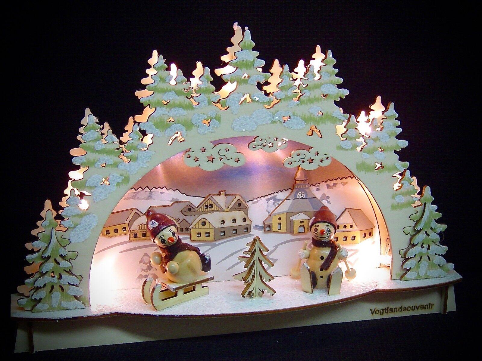 3D LED Lichterbogen Schwibbogen Schwibbogen Schwibbogen Kirche Seiffen  2 Schneemänner 29x19 cm 10243 | Lebhaft  1ea68b