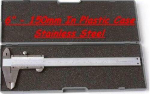 """150MM 6/"""" VERNIER CALIPER STAINLESS STEEL BODY PLASTIC CASE"""