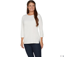 Dennis Basso Boat Neck Knit 3//4 Slv Top Winter White XL NEW A298275