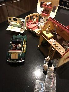 Sylvanian Families Touring Caravane Voiture Et Maison Et Chiffres Ebay