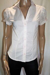 Hot-Options-Brand-Pink-Metallic-Stripe-Short-Sleeve-Blouse-Size-12-BNWT-TR101