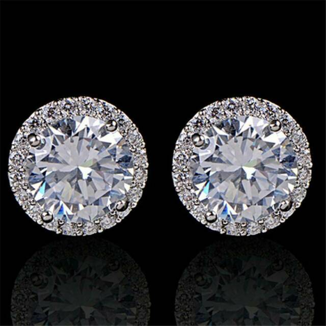 Women's 18K White Gold Plated Crystal Zircon Inlaid Ear Stud Earrings Jewelry HS