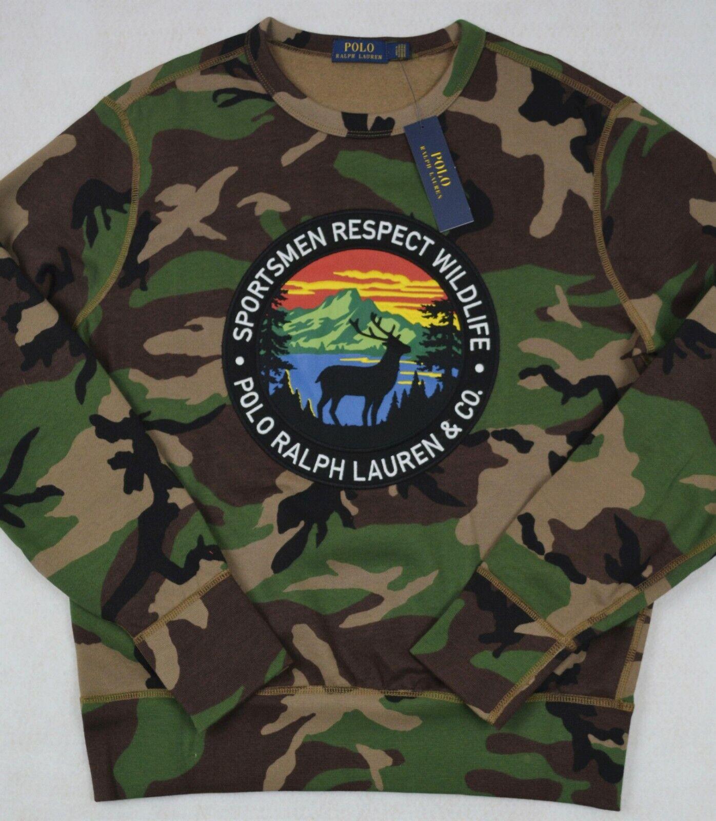 Polo Ralph Lauren Camo Fleece Sweatshirt Sportsmen Respect Wildlife M NWT
