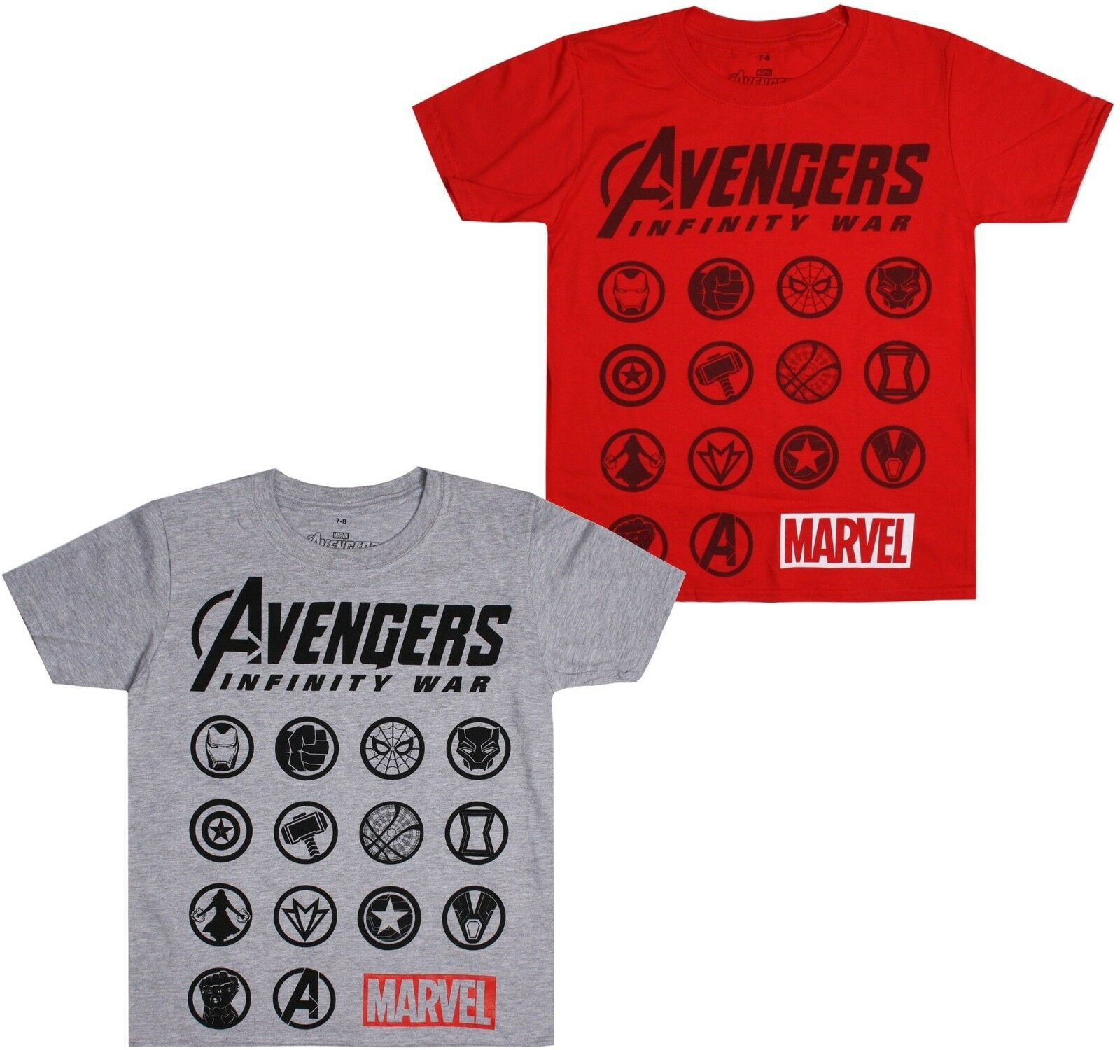 Avengers Infinity War Marvel Emblems Icons Logo/'s Kids Boys T-Shirt Age 7-12
