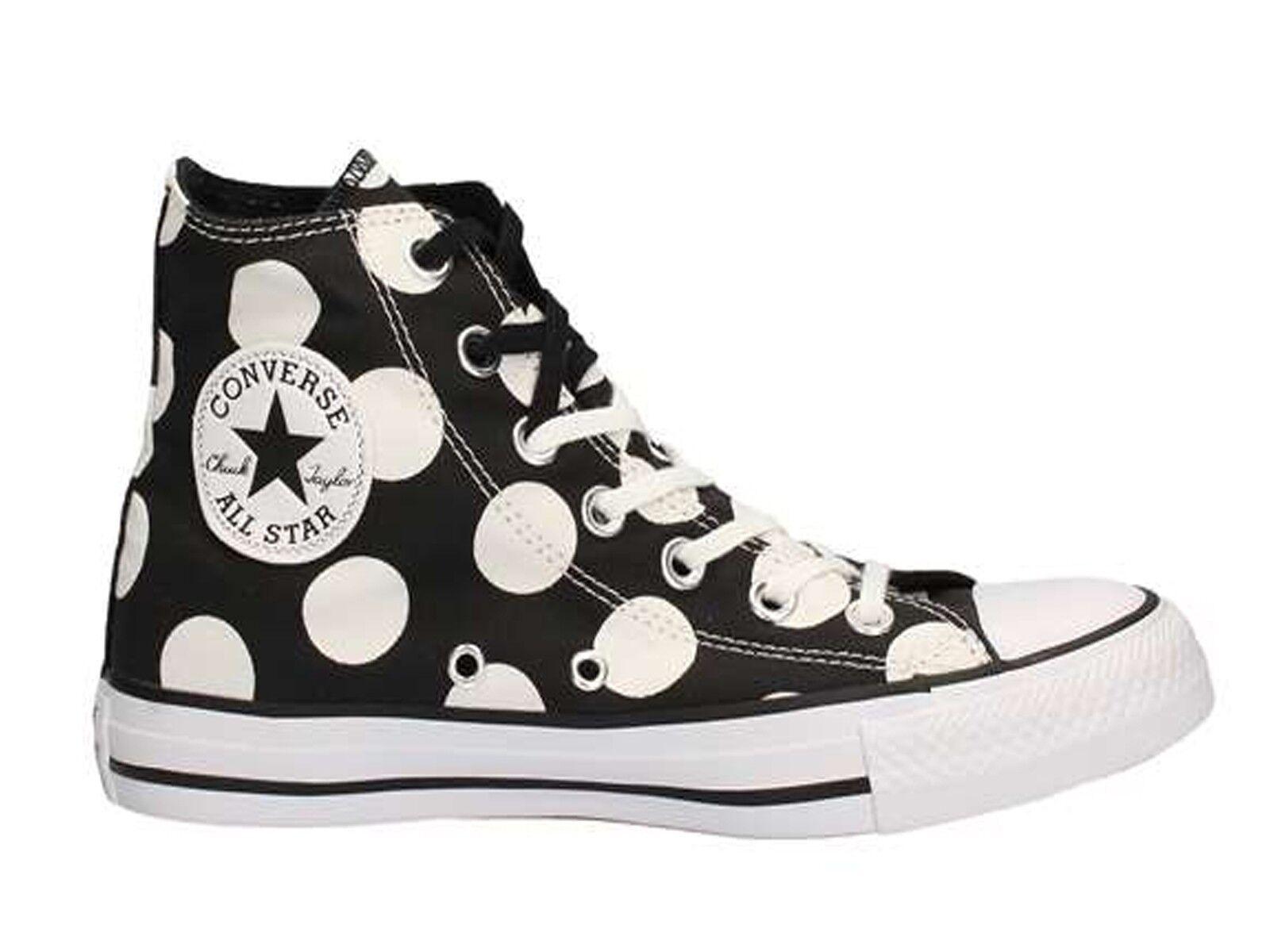chaussures femmes CONVERSE  556814C  ALL STAR HI CANVAS PRINT noir blanc DOTS