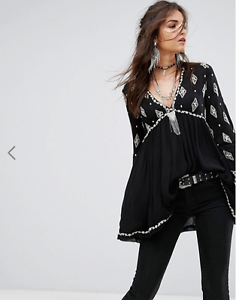 NWT Free people Diamond Embroiderot Smock Top Retail