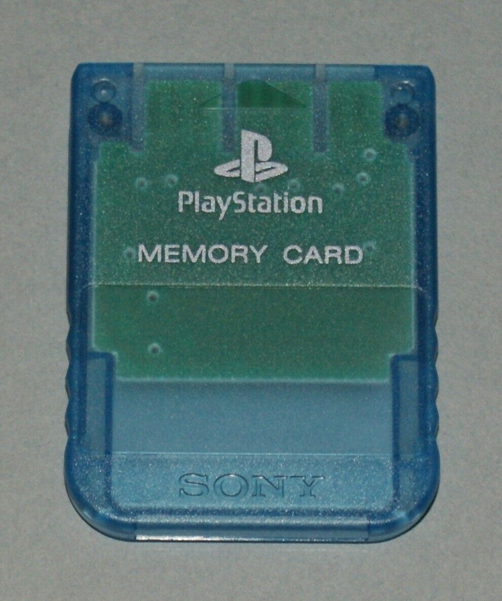 Clear Blue Official PS1 Memory Card - Sony PlayStation One Tested SCPH-1020 #3